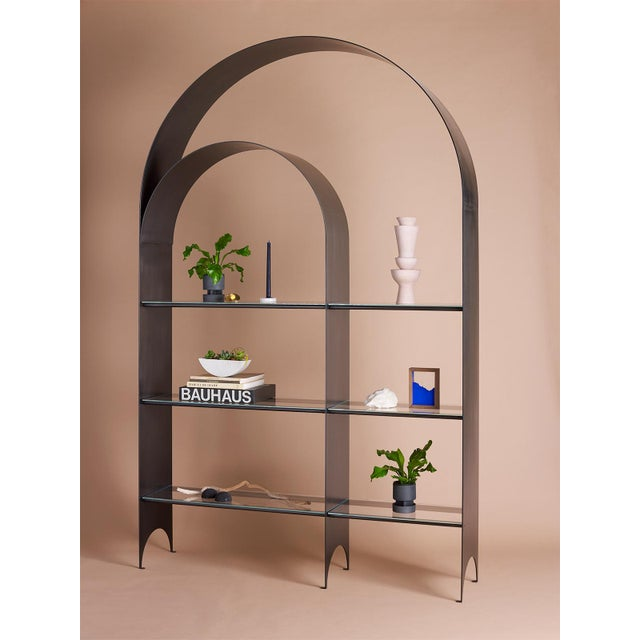 Kin & Company Thin Shelves Double in Contemporary Blackened Steel With Starfire Glass For Sale - Image 4 of 7