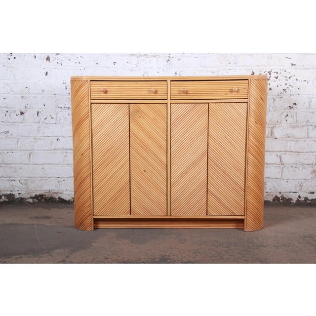 Gabriella Crespi Style Split Reed Rattan Sideboard Cabinet For Sale - Image 13 of 13