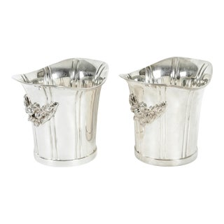 Mid-20th Century English Silver Plated Ice Bucket or Wine Cooler - a Pair For Sale