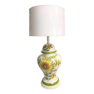 Floral Designs Ceramic Ginger Jar Lamp on Wood Base with Shade For Sale