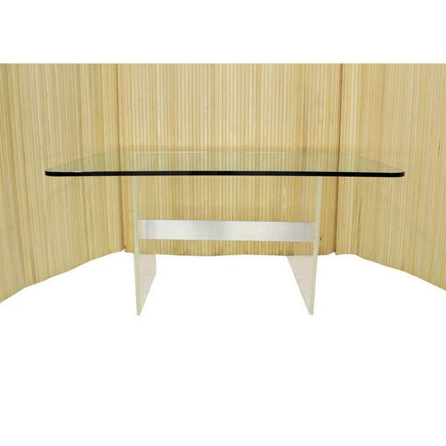 Tan Mid Century Modern 3/4 Thick Glass Top Lucite Base Conference Dining Table For Sale - Image 8 of 9