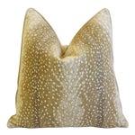 """Custom Tailored Speckled Fawn Deer Velvety-Chenille Feather/Down Pillow 22"""" Square"""