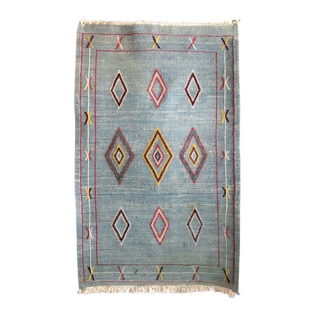 Vintage Moroccan Flat Weave Rug - 2′ × 3′3″ - Image 1 of 4