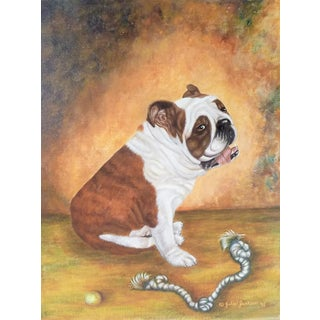 1990s English Bulldog With Ball and Rope Canvas Painting For Sale