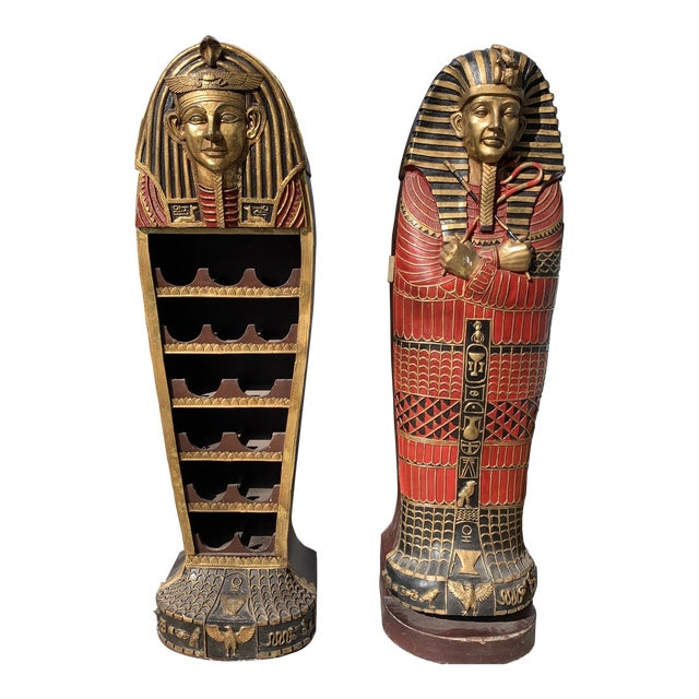 Egyptian Sarcophagus Wood Dry Bar and Storage Cabinet For Sale