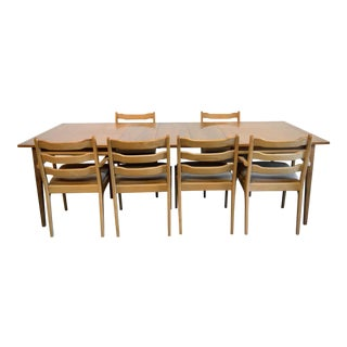 1960s Mid Century Modern Wooden 6-Chair Dining Set - 7 Pieces For Sale