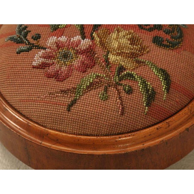 Wood Antique English Folk Art Beaded Ladies' Footstool For Sale - Image 7 of 10