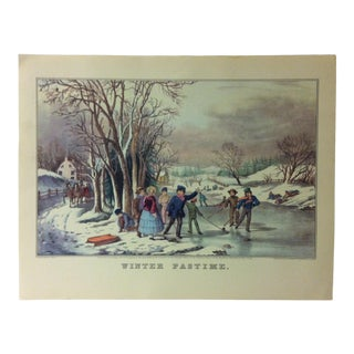 "Currier & Ives American Print, ""Winter Pastime"" by Crown Publishers, Circa 1950 For Sale"