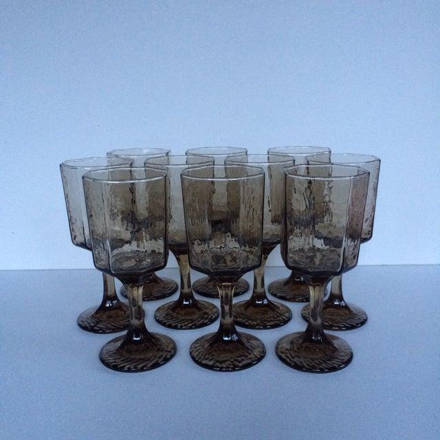 Vintage Octagonal Stemmed Glasses - Set of 10 - Image 2 of 10