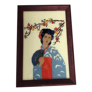 Vintage Asian Geisha Reverse Painting on Glass For Sale
