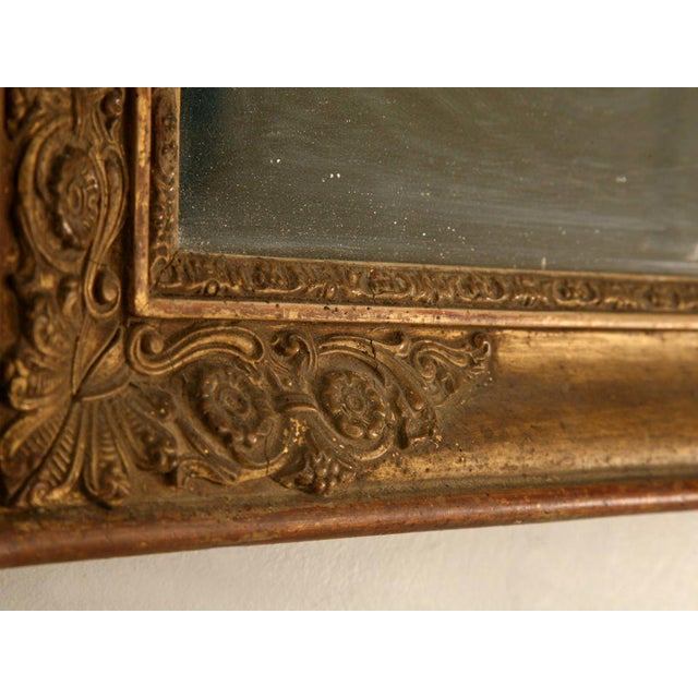 Gesso Petite All Original 18th C. Antq French Gilt Framed Sugar Mirror For Sale - Image 7 of 12