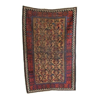 Late 19th Century Antique Timuri Baluch Rug-3′ × 4′11″ For Sale
