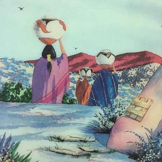 Illustration Doreman Burns Watercolor Hand Painted Tile For Sale - Image 3 of 9
