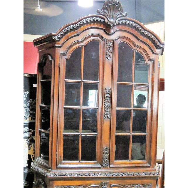 Georgian 19th Century Carved Georgian Style Two Piece China Closet For Sale - Image 3 of 9