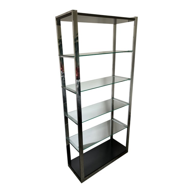 Chrome Etagere With Glass Shelves For Sale