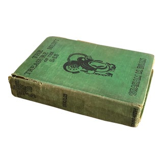 1934 Antique Scuba Diver Book the Treasure Hunt of the S18 Distressed Green Hardcover by Graham Dean For Sale