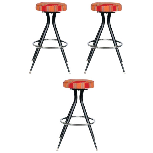 Black Steel Swivel Bar Stools - Set of 3 - Image 1 of 5