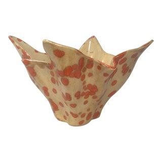 1941 Orange Polka Dot Handkerchief Style Ceramic Vase For Sale