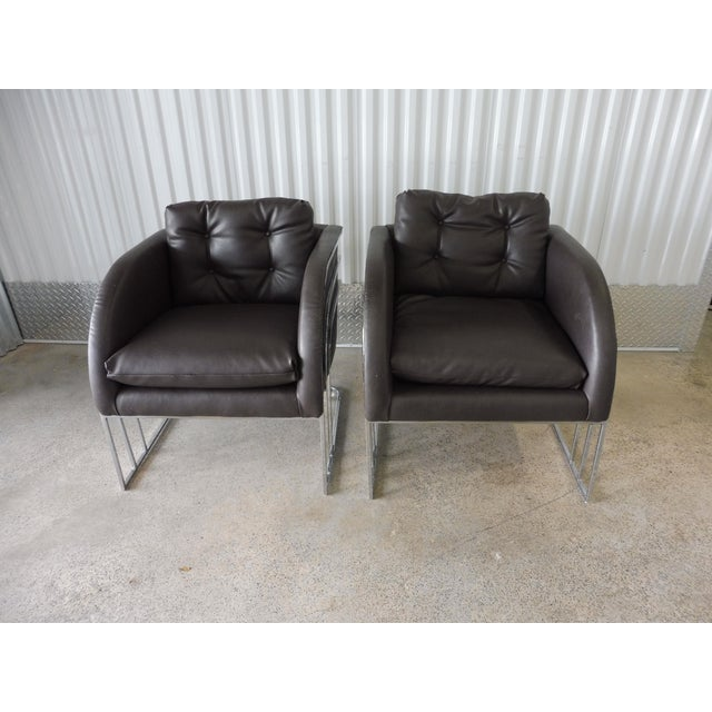 Metal 1970's Mid-Century Modern Milo Baughman Chrome and Leather Club Chairs - a Pair For Sale - Image 7 of 11