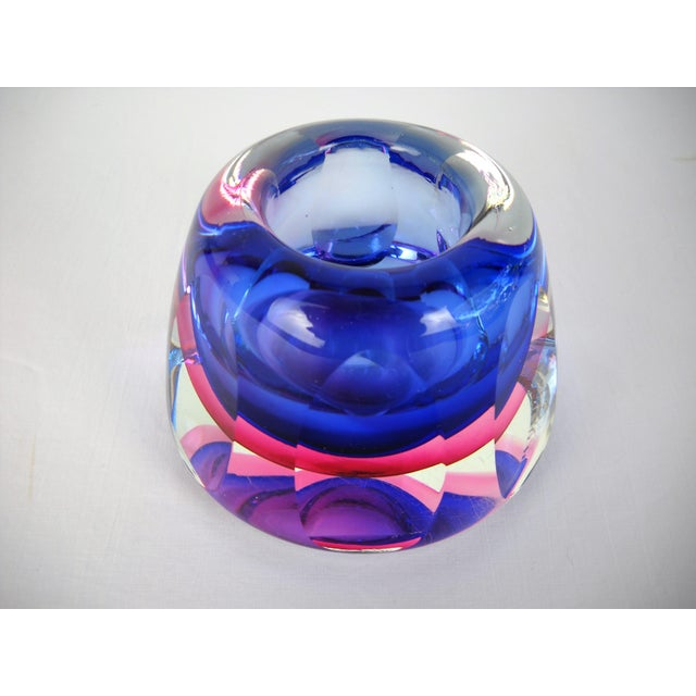 Blue Flavio Poli Faceted Murano Glass Vase For Sale - Image 8 of 10