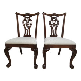2000s Modern Pennsylvania House Ball Claw Chippendale Dining Room Side Chairs- A Pair For Sale