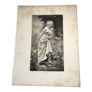 """1892 Antique Ophelia From Shakespeare's """"Hamlet"""" Photogravure Print For Sale"""