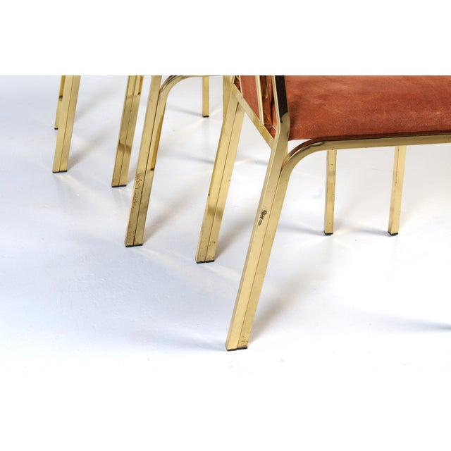 Metal 1970s Italian Suede and Brass Chairs-Set of 6 For Sale - Image 7 of 10