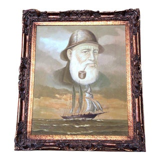1960s Vintage Captain and Ship Nautical Framed Original Painting For Sale