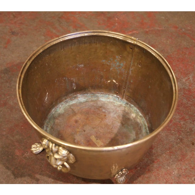 Metal 19th Century French Brass Cache-Pot Planter With Lion Head Handles For Sale - Image 7 of 9