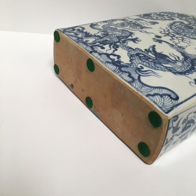 Blue Chinese Dragon Flat-Front Vase - Image 7 of 11