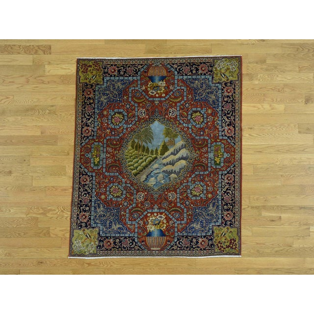 Antique Persian Tabriz Pictorial Rug- 4′7″ × 5′4″ For Sale - Image 13 of 13
