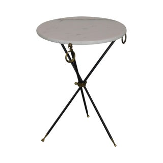 Tripod Mid Century Regency Style Round Marble Top Side Table After Robsjohn Gibbings For Sale