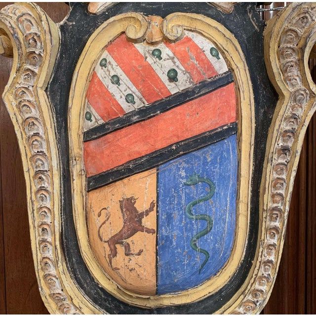 Blue Pair of Early 20th Century French Carved Painted Wall Hanging Shields With Crest For Sale - Image 8 of 11