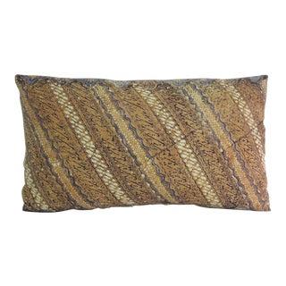 Vintage Hand-Blocked Batik Lumbar Decorative Pillow For Sale