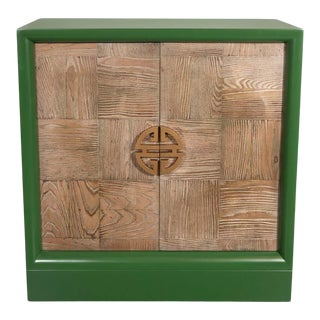 Midcentury Pickled Oak and Kelly Green Lacquer Bar Cabinet Signed James Mont For Sale