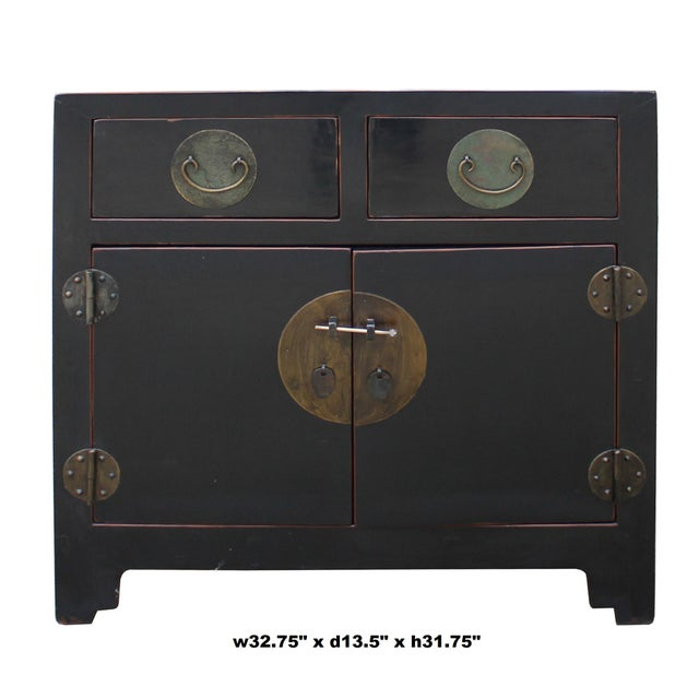 Asian Vintage Distressed Black Lacquer Oriental Chinese Side Table Cabinet For Sale - Image 3 of 8