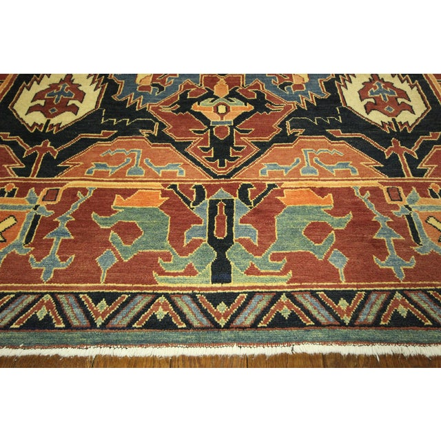 "Navy Chobi Hand Knotted Wool Rug - 6'6"" x 9'10"" - Image 5 of 9"