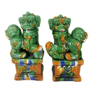 Vintage Ceramic Sancia (Shishi) Green and Amber Drip Glaze Chinese Foo Lions- a Pair For Sale