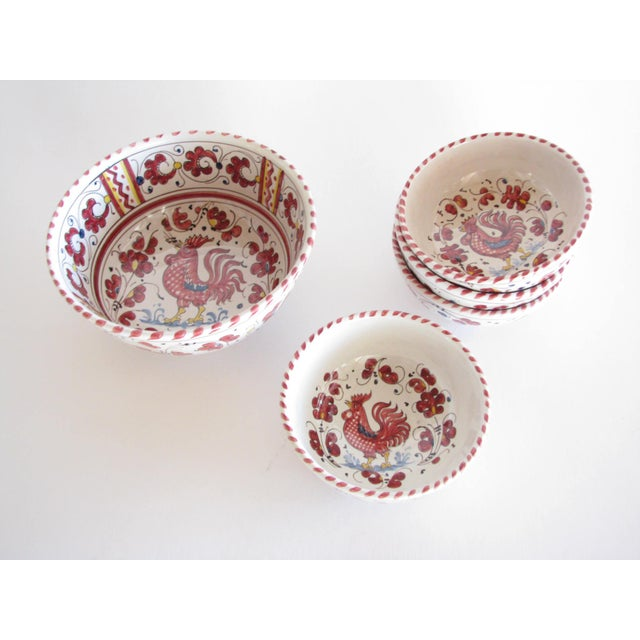 Red Vintage Pv Italy Orvieto Red Rooster 10 Place Settings Dinnerware Set - 70 Pieces For Sale - Image 8 of 13