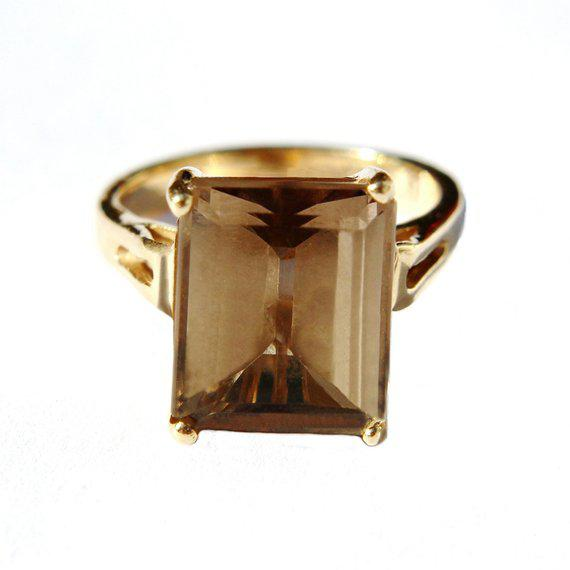 14k Gold Smokey Topaz Ring For Sale In Los Angeles - Image 6 of 6