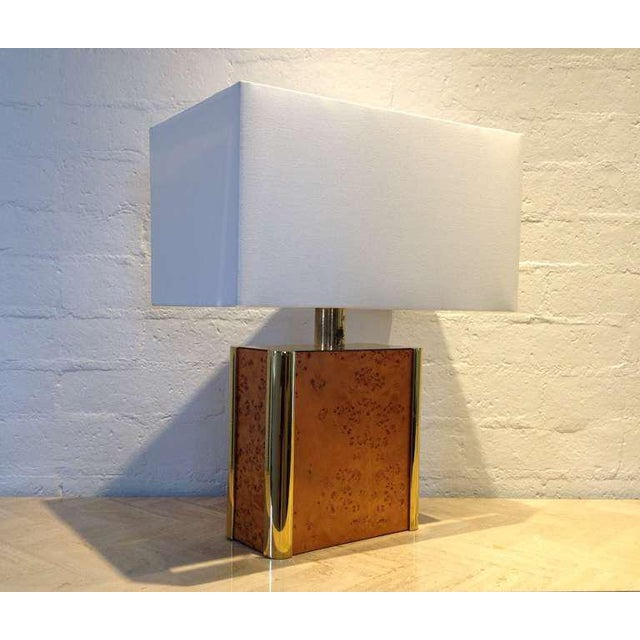 Milo Baughman Burl-Wood and Brass Table Lamp Designed by Milo Baughman For Sale - Image 4 of 9