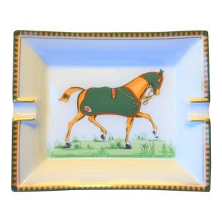 Hermes Numbered Green Equestrian Cigar Tray