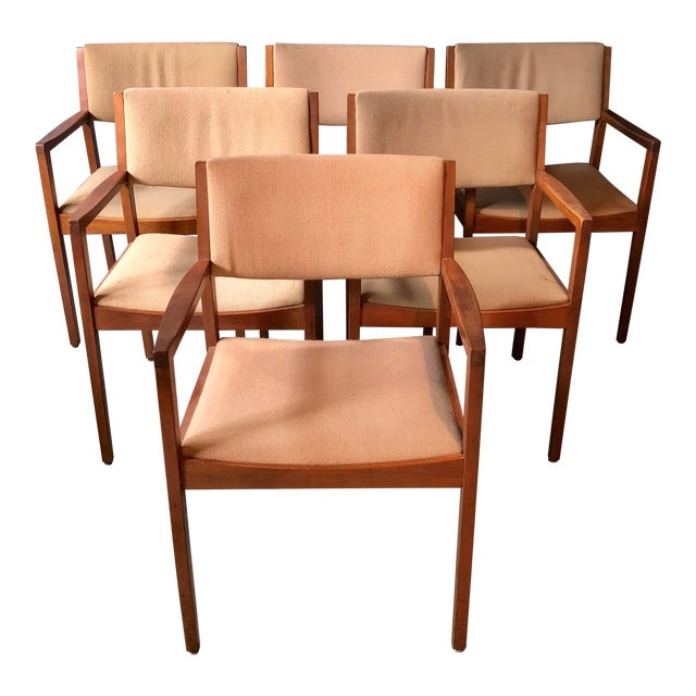 Mid Century Modern Walnut Dining Armchairs- Set of 6 For Sale