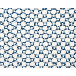 Hinson for the House of Scalamandre Island Trellis Fabric in Blue For Sale