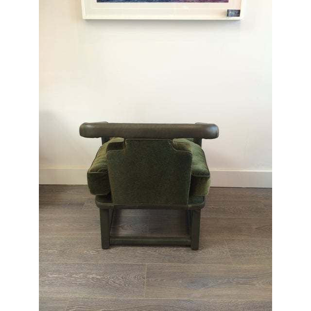 Green Leather & Mohair Lounge Chair - Image 6 of 10