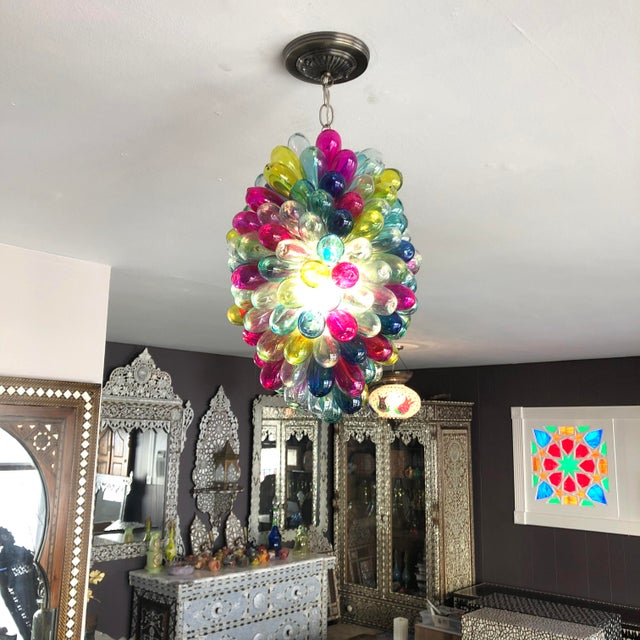 Recycled Hand Blown Glass Gemstones Color Chandelier For Sale In Los Angeles - Image 6 of 12