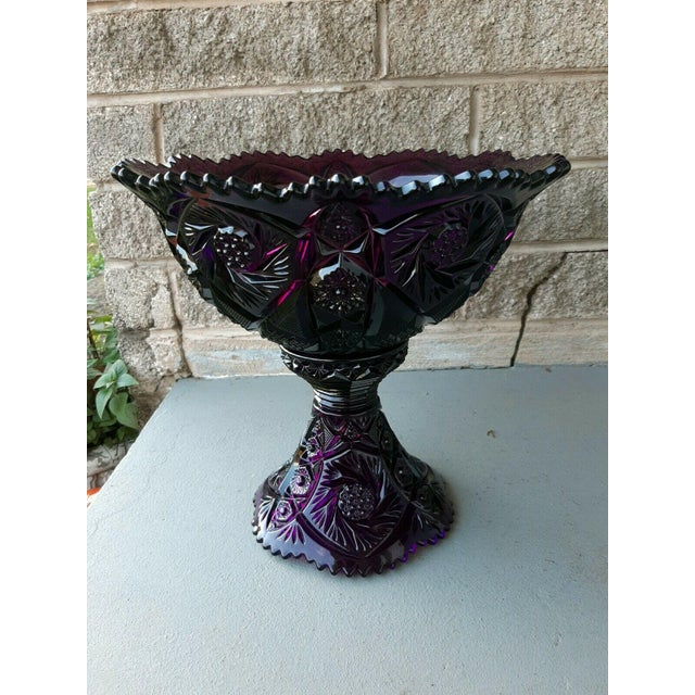 Mid 20th Century Large Imperial Whirling Star Amethyst Glass Punch Bowl With Stand For Sale - Image 11 of 13