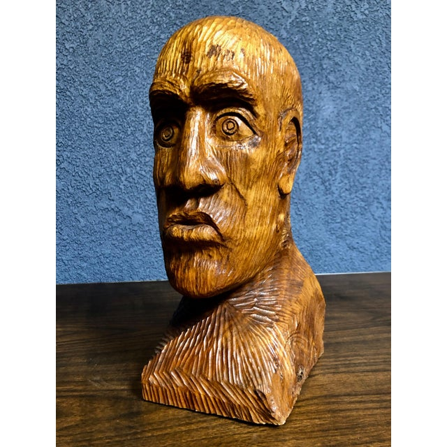 Contemporary 1970s Vintage Solid Wood Hand-Carved Male Bust Sculpture For Sale - Image 3 of 9