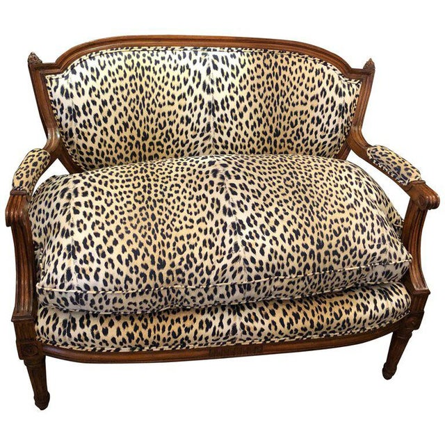 Textile Louis XIV Carved Walnut and Faux Leopard Loveseat Settee For Sale - Image 7 of 8