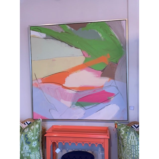 Dynamic and colorful large abstract print! Framed in brushed gold. This print adds a fantastic splash of color to any...